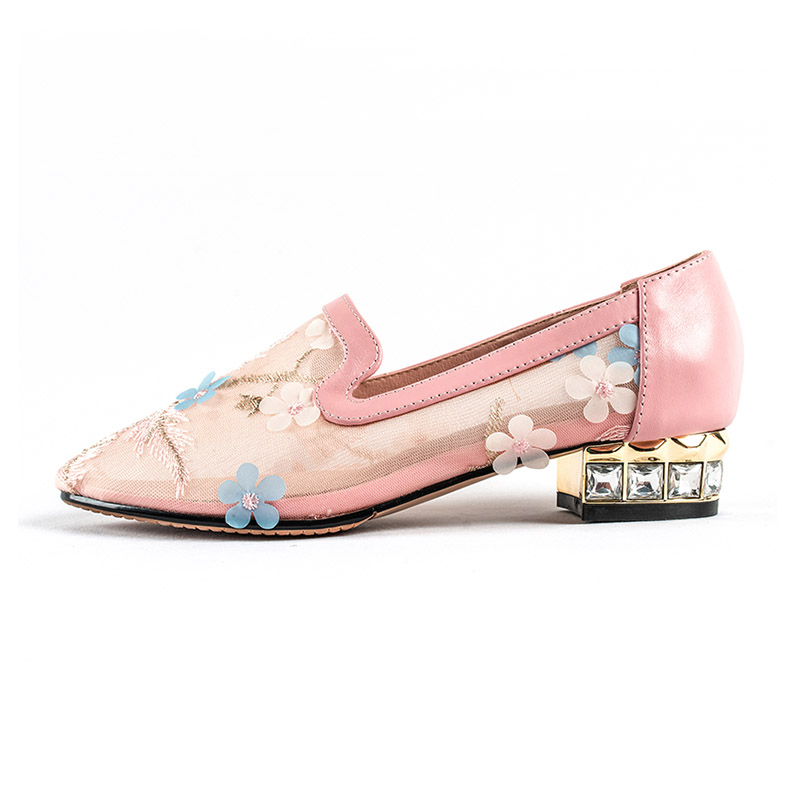 Belle Glissement Pour Fleur Cristalline Talon Doux Rose Faible Chaussures 3 Maille Femmes D'été Pompes Dames Sur Ft617 Cm Femme Phoentin 2019 dxBoWCeQr