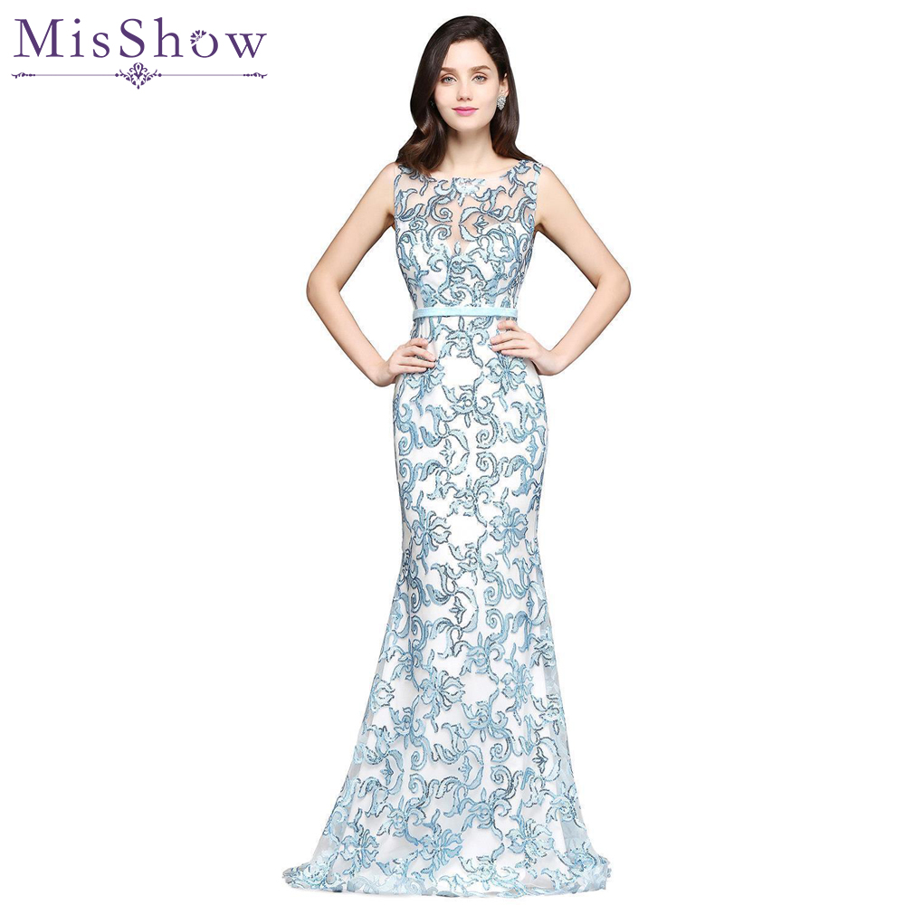 Us Size 14 16 In Stock Elegant Blue White Mermaid Evening Dresses