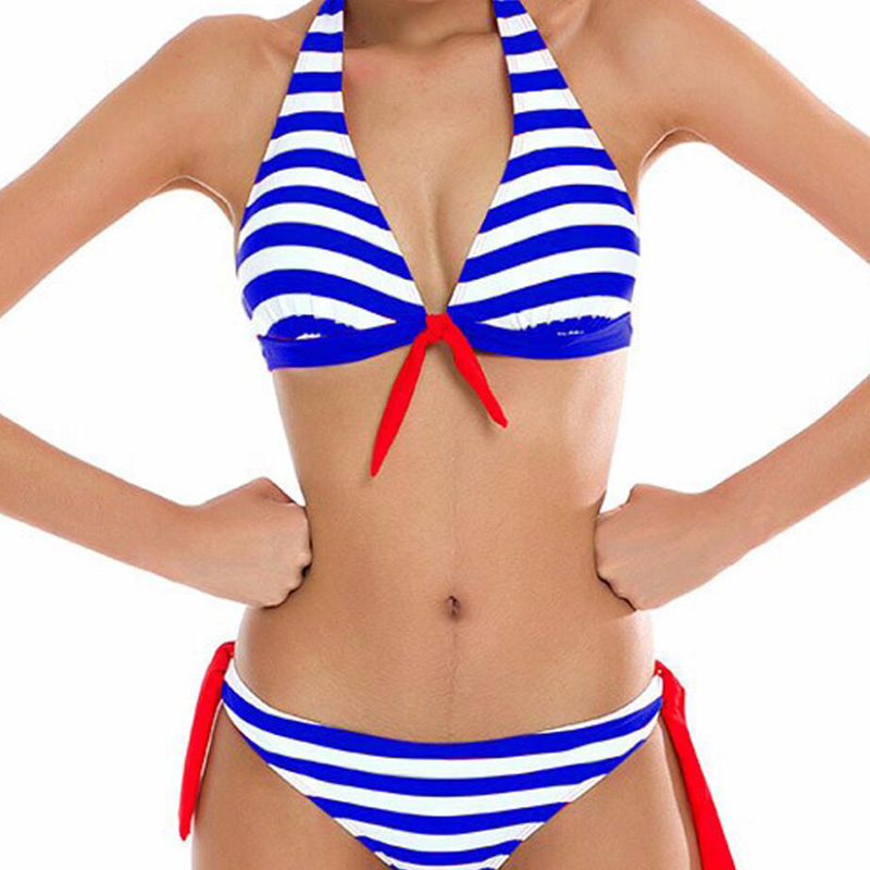 Sexy color striped strap hanging neck padded no steel ring split bikini two-piece swimsuit free shipping