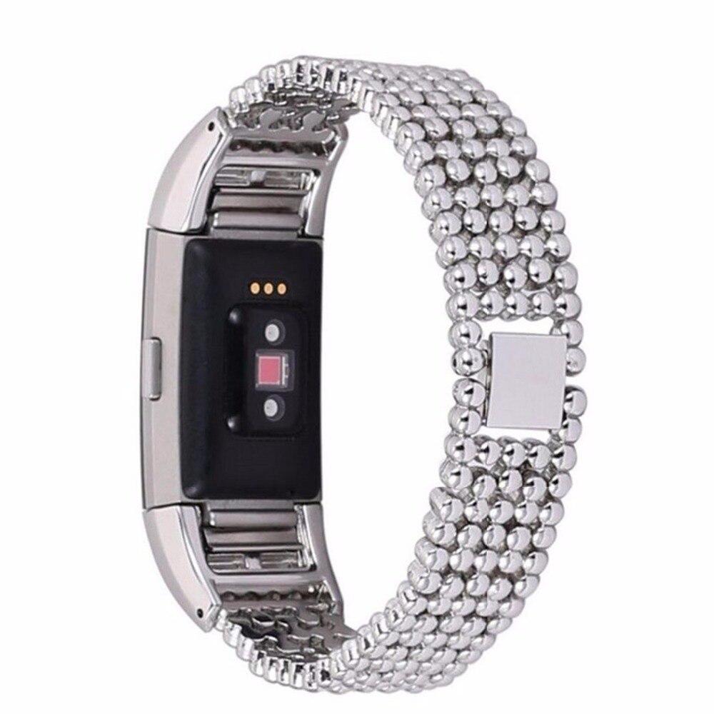 Edelstahl Bead Stil Armband Uhrenarmband-bügel-armband Für Fitbit Ladung 2 Smart Watch Band Ersatz strap