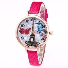 New Eiffel Tower Elegant Women's Quartz Wristwatch Printing Birds Lady Dress Watch Women's Bracelet Watch Relogio Feminino Gifts