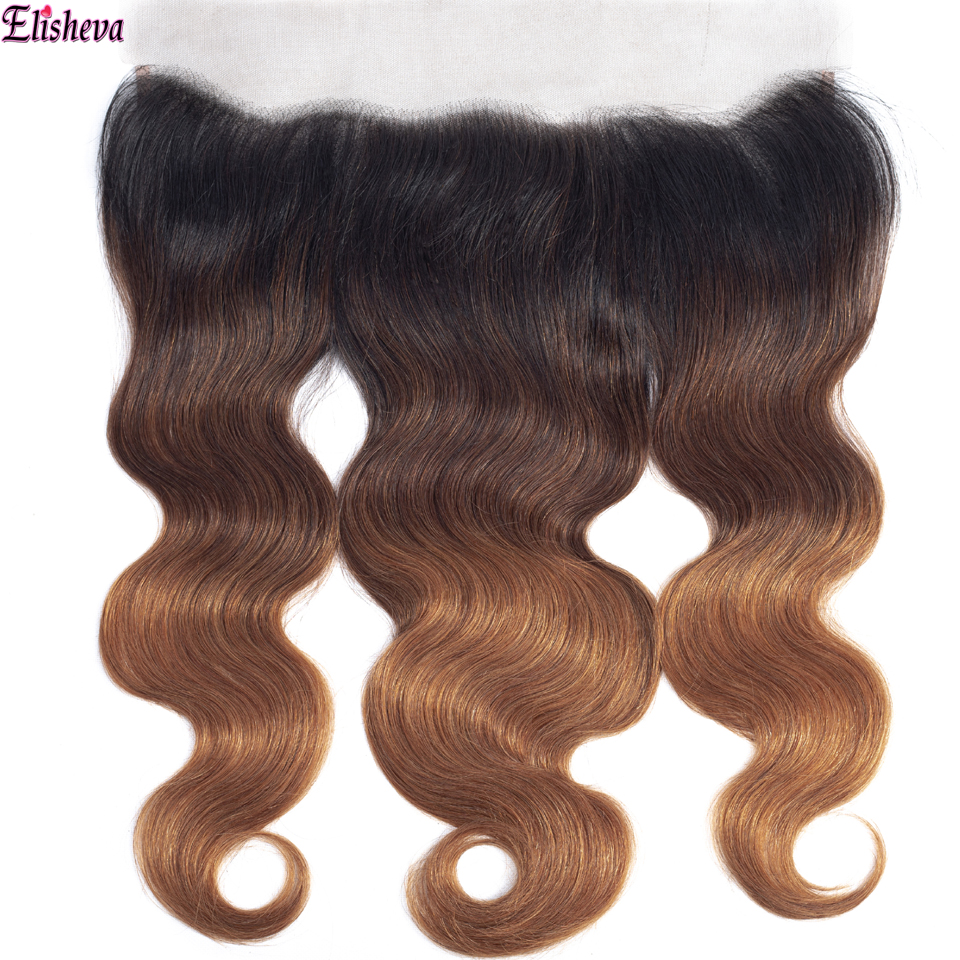 Elisheva Ombre Brazilian BodyWave 13x4 Ear To Ear Lace Frontal Closure Pre Plucked 3Tone Remy 1B