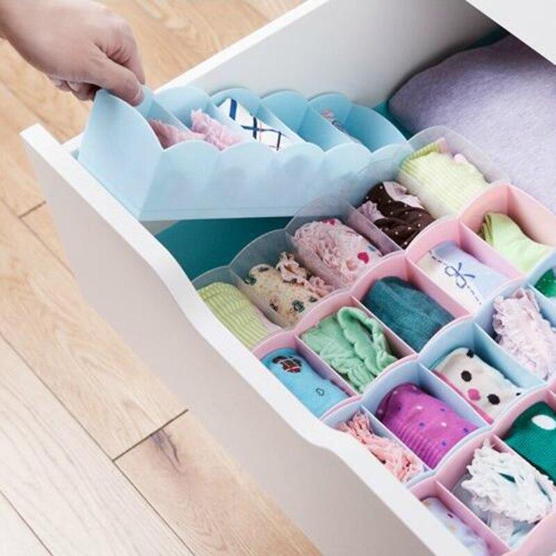 5 Cells Plastic Organizer Storage Box Ties Bra Socks Underwear Divider Drawer Lidded Closet Cosmetic Divider Storage Boxes 0