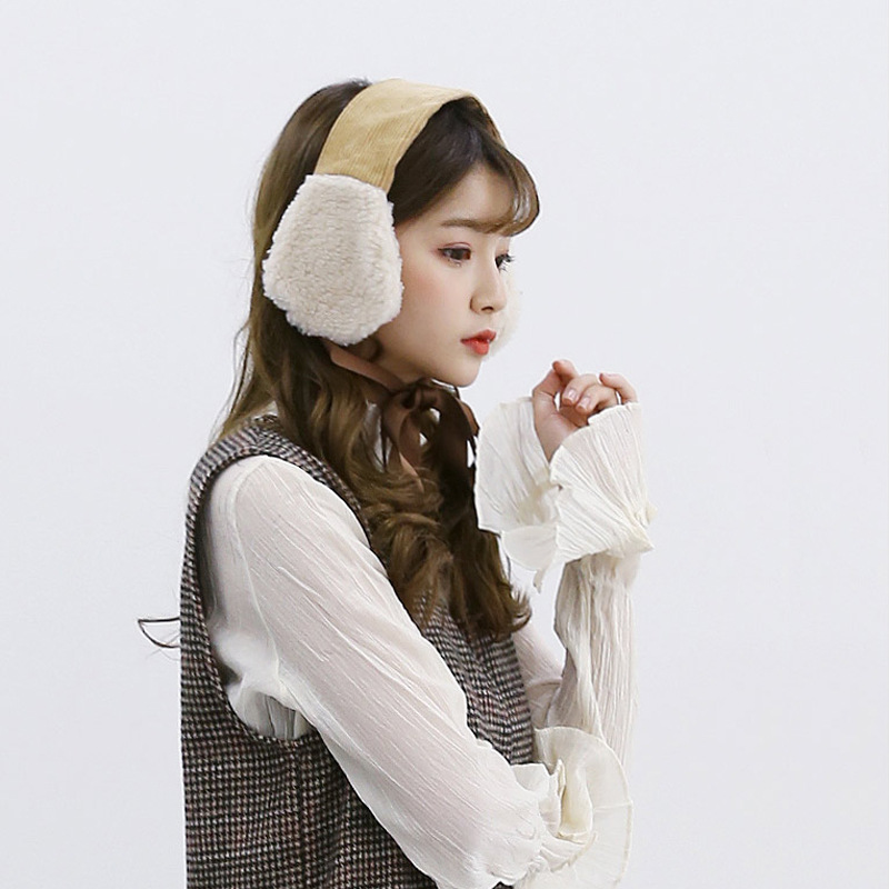 Winter Keep Warm Earmuffs For Women Corduroy Plush Ear Bag Ins Style Fashion Bow Ribbon Ear Protection For Girls Q893