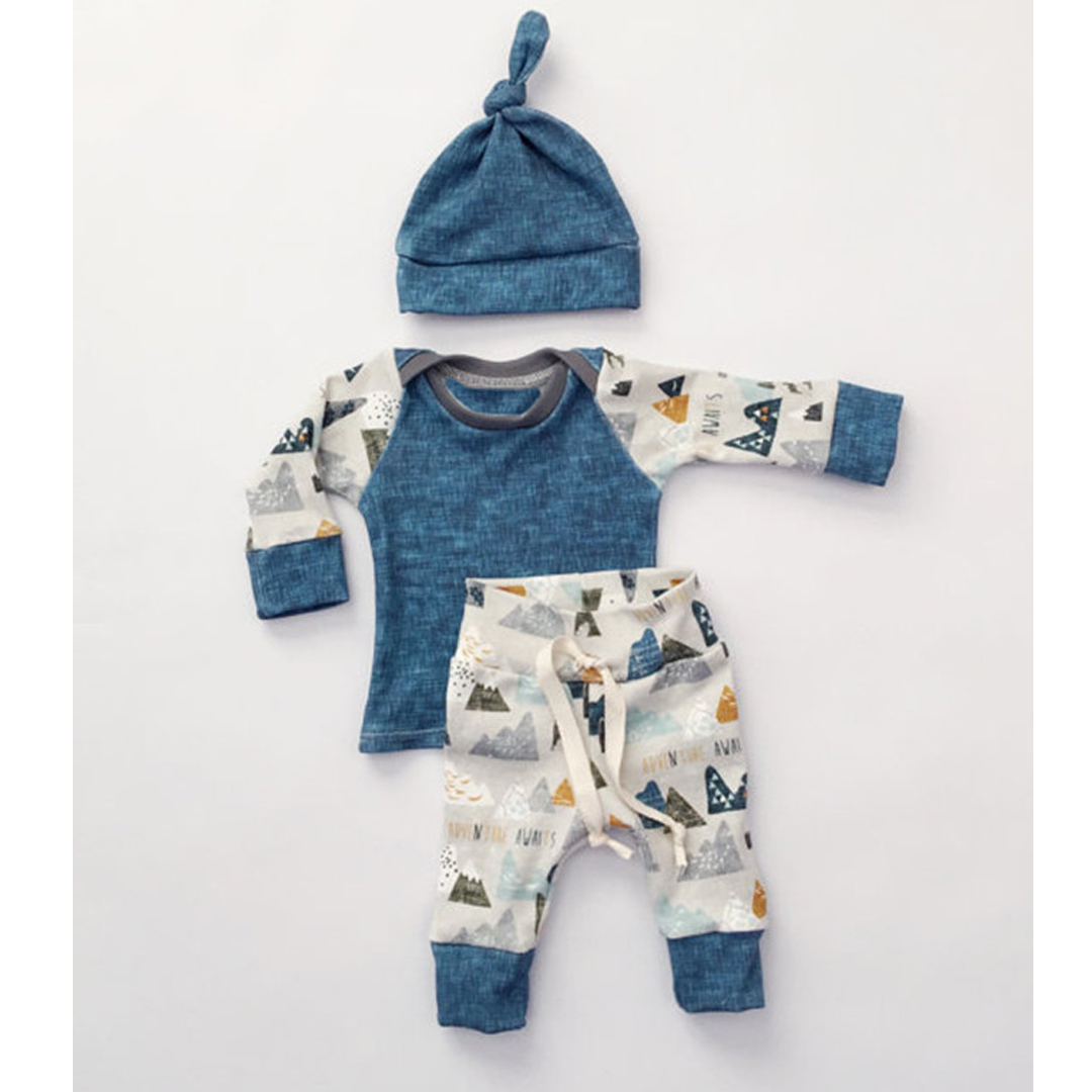 Fashion baby boy clothes newborn outfits autumn boys blue cotton long sleeve boy set 3pcs shirt