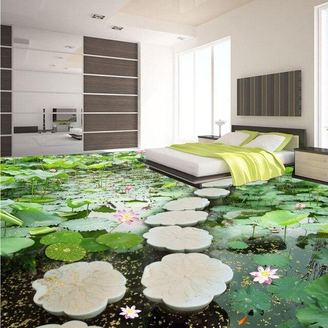 Freies Verschiffen Lotusteich Blume Stein Brucke 3d Bodenbelag