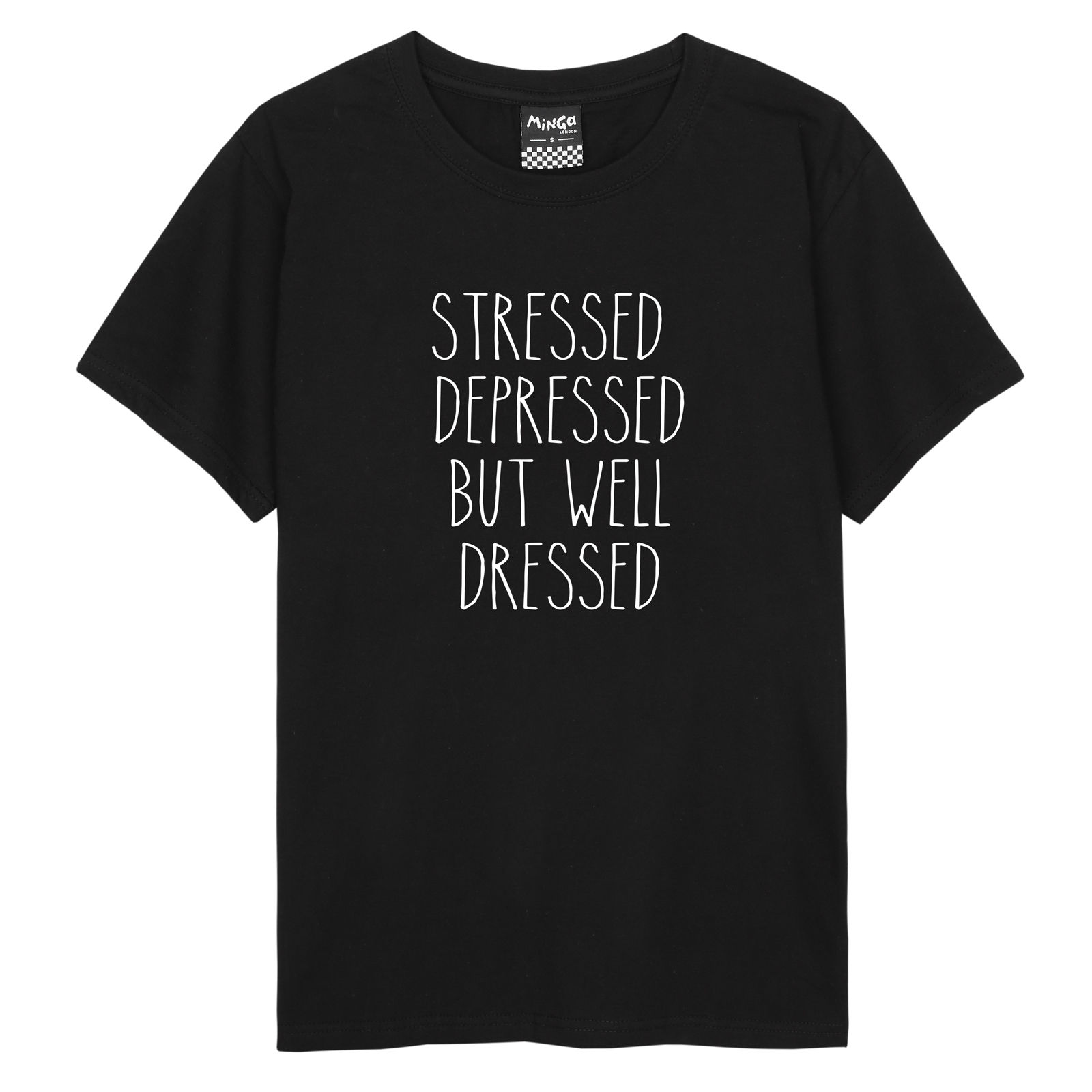 STRESSED DEPRESSED BUT WELL DRESSED T SHIRT HIGH WOMENS FUNNY QUOTE TUMBLR SWAG Printed T-Shirt Charming Tops Tee