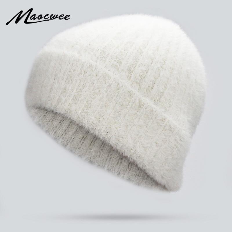 Women Winter White Hats Beanies Knitting Rabbit Wool Fur Hat Female Skullies Caps Gorros Solid Color Cap 2018 Ski Mask Cap Gorro
