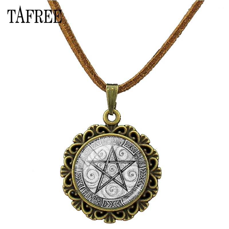 Tafree pingente de bronze do vintage pentagrama colar de vidro cabochão pentagrama declaração pingente colares para mulher dt23