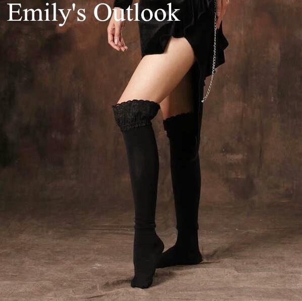d066dbc69 Belly Dance Womens Winter Sexy Over Knee Leg Warmer Black Lace Thigh High  Boot Socks Girls Leggings Free Shipping