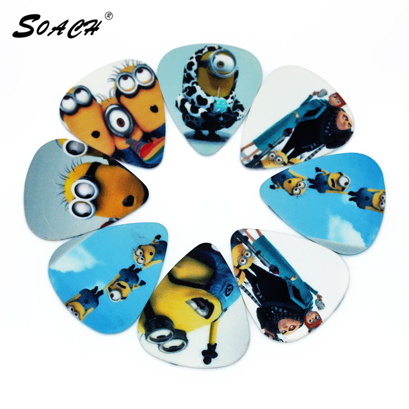 SOACH 10pcs/Lot 1.0mm Thickness Small Yellow People,  Pedal Guitar Picks, Musical Instruments Accessories Guitar Strap