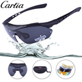 Carfia New Polarized Sport Sunglasses with 5 Set Interchangeable Lenses for Running Fishing 100% UV400 Protection Goggles CA818