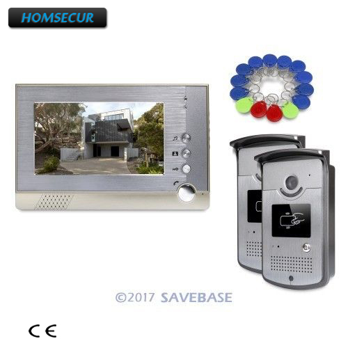 HOMSECUR 7inch Wired Video Door Intercom System with IR Night Vision for Home Security + 2 Outdoor Units + 1 Indoor Unit