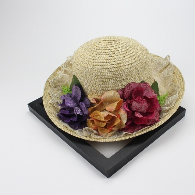 2017 Fashion Design Wide Brim Straw Hat Women Flower Foldable Brimmed Sun Hat Summer Hats For Women