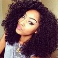 Средней Длины Afro Kinky Фигурных Синтетический Парик Фронта Шнурка 180 Плотность Термостойкое Волокно Волос Вьющиеся Парики Для Чернокожих Женщин