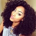 Comprimento médio Encaracolado Afro Crespo Dianteira Do Laço Sintético Peruca 180 Densidade Resistente Ao Calor Fibra Do Cabelo Curly Perucas Para As Mulheres Negras