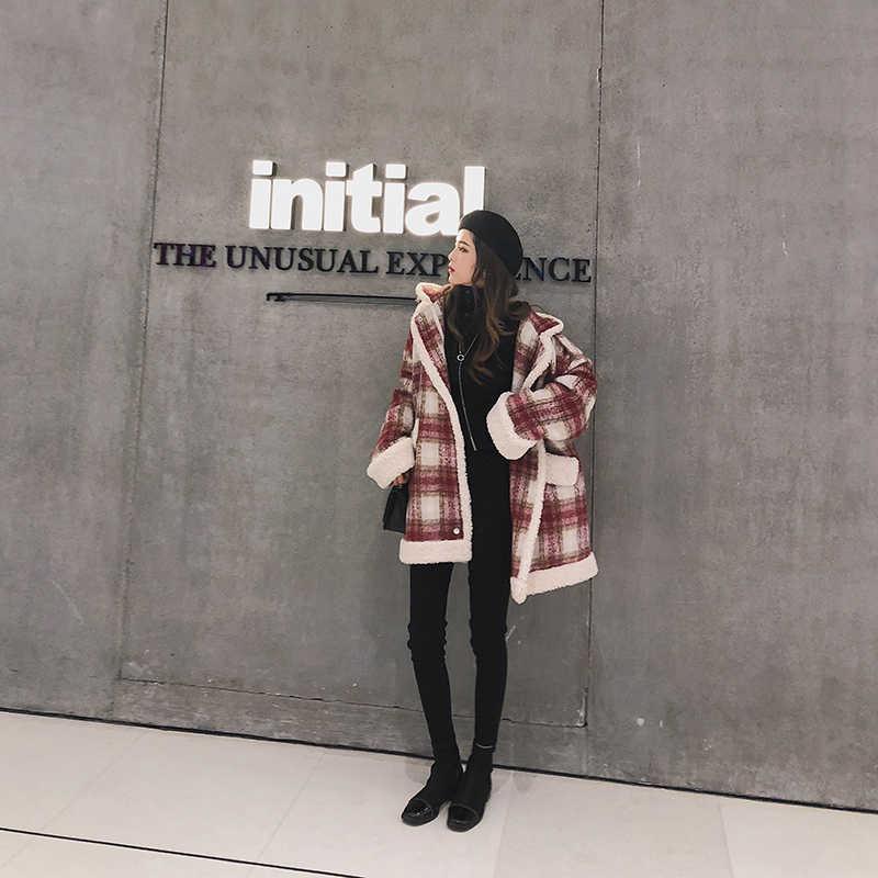 MISHOW 2019 autumn winter red plaid woolen coat new fashion causal women turndown collar thick coat MX18D6457