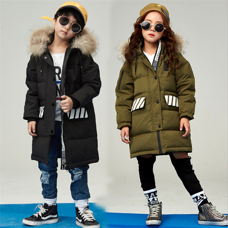 Boys and girls 2017 Korean warm thick long down coats winter for size 6 7 8 9 10 11 12 13 14 years child coat  fashion outerwear russia winter boys girls down jacket boy girl warm thick duck down