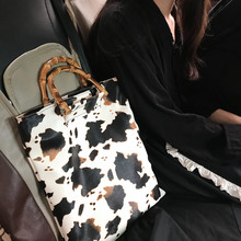 Vintage Cow Pattern Women Handbags Designer Bamboo Handle Hand Bags Casual Large Capacity Totes Female Purses lady Bucket Bag cotton floral print women handbag wood handle cltuch totes ladies hand bag famous brand vintage female bag summer women purses