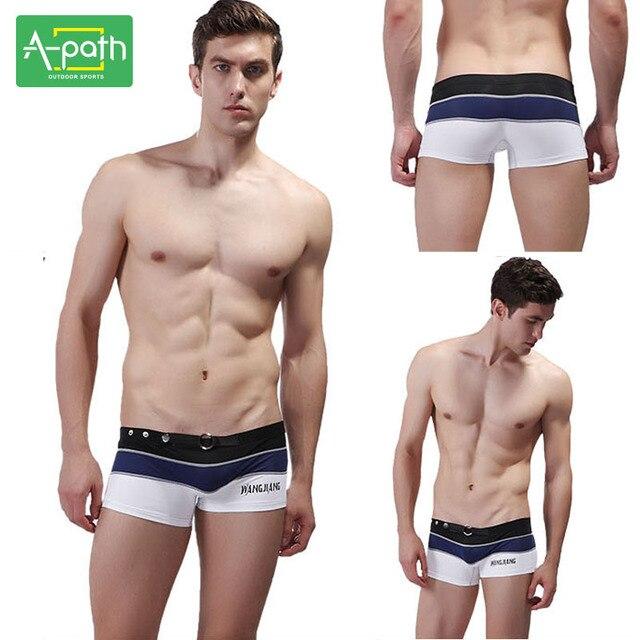 dd55c9e91ffa 2019 Summer Men's One Piece Swimsuit Beach Trunks Underwear Low-waist Sexy  Flat Pants Men's Underwear Swimming Pants 8 Color
