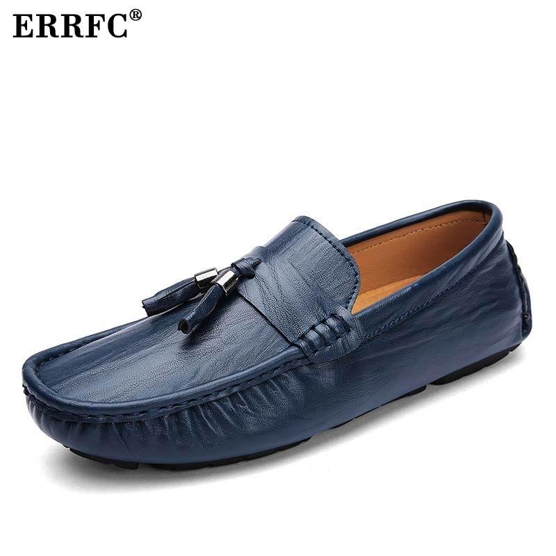 Mocassin Hommes Slip Mocassins 46 Bleu Chaussures Driving Homme Style bleu  Tendance Noir Mode Britannique marron ... 265fb84c198e