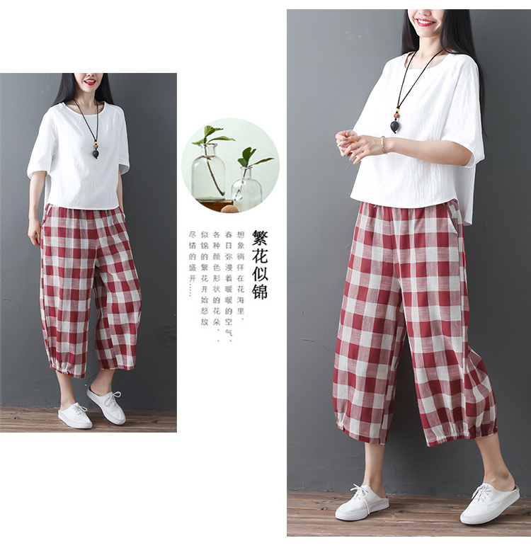 2019 Cotton Linen Two Piece Sets Women Plus Size Half Sleeve Tops And Wide Leg Cropped Pants Casual Vintage Women's Sets Suits 53