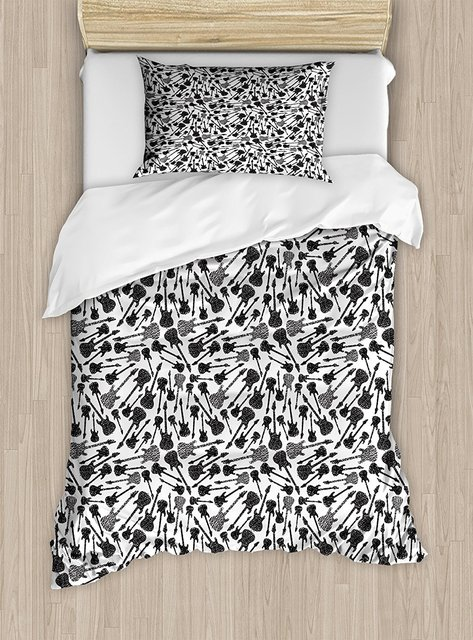 Music Duvet Cover Set Grunge Style Hand Drawn Style Electric Guitars Sketch  Rock Pop Vibes Print