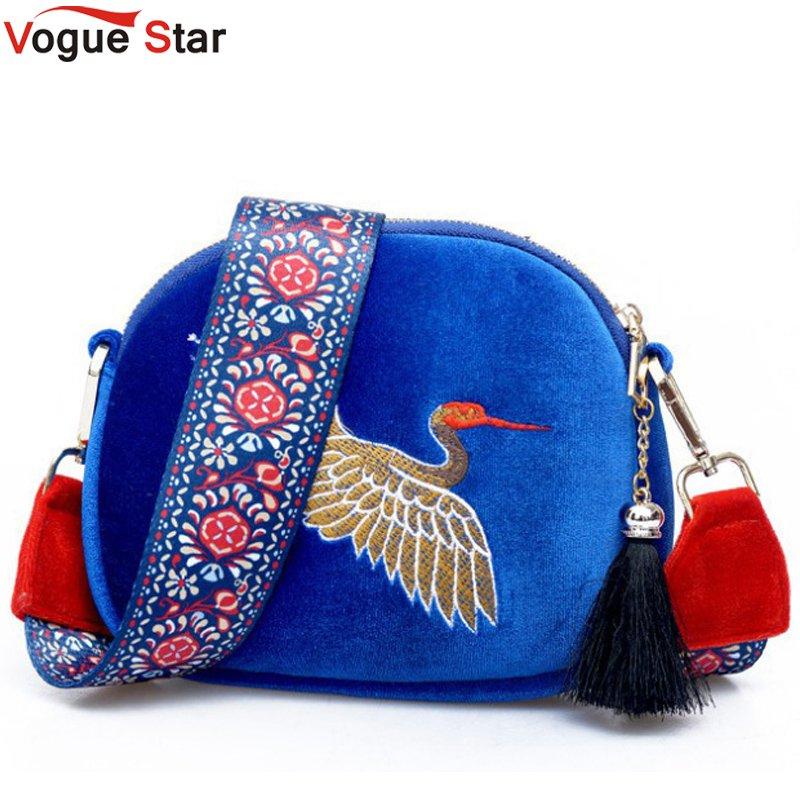 Vogue Star Mini Velvet Embroidery Crane Shell Bag Wild Strap Fashion Shoulder Bags Designer Tassel Vintage Crossbody Bag LB532