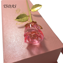 Crystal Rose Flower With Nice Gift Box, Pink Gold Dipped Rose Crystal Flower For Ladies 1pc Free Shipping