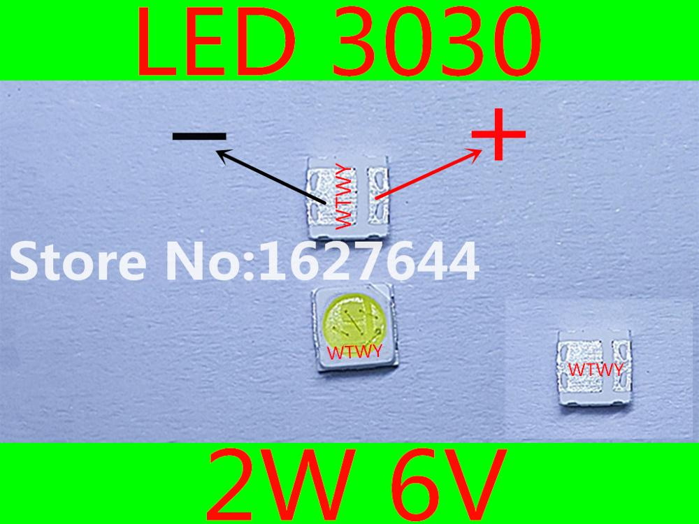 1000pcs EVERLIGHT LED 3030 LED Backlight TV High Power 2W 6V LED Backlight Cool white For