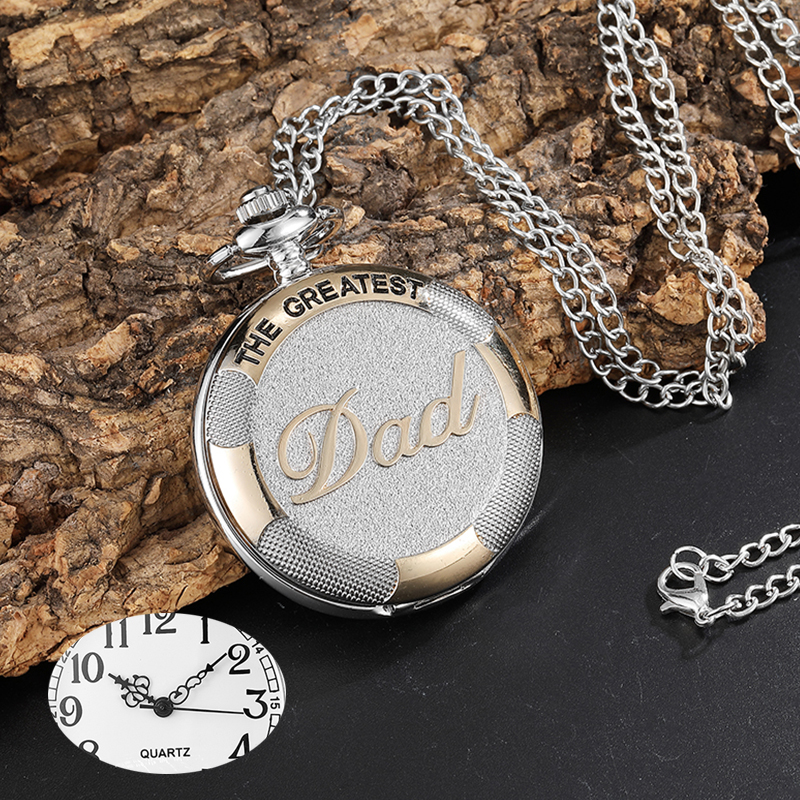 купить Vintage Silver Golden Luxury THE GREATEST DAD Quartz Pocket Watch Fob Chain Necklace Men's Fathers Gifts Clock Relogio De Bolso