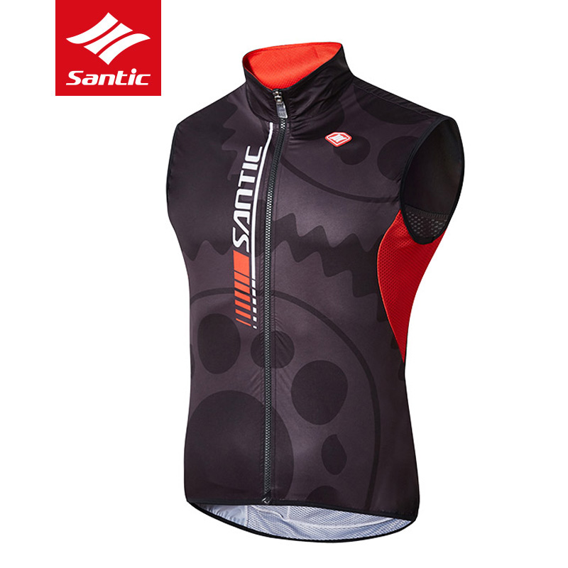 New Santic Mens Breathable Cycling Vest Windproof Sleeveless Anti-Sweat MTB Road Bike Vest Quik Dry Reflective Bicycle Clothing quik lok rs513