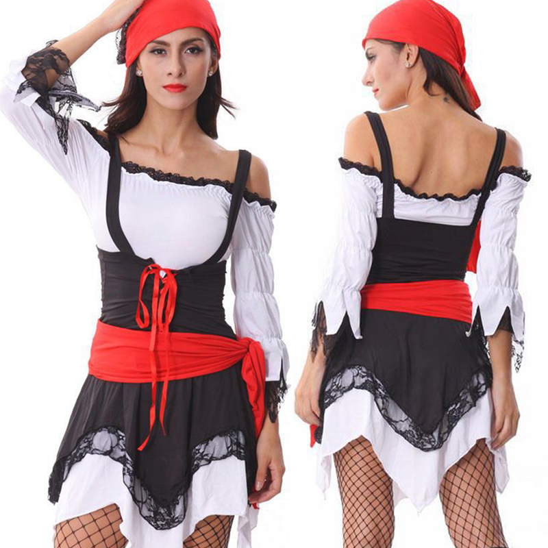 New Hot Sale Classic Pirate Costumes For Women Halloween Party Role Play Uniform Pole Dancing Costumes Pirate Cosplay One Size