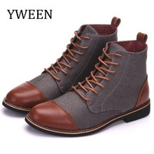 YWEEN Spring Autumn Casual Lace Up shoes Booties Men Ankle Boots Oxfords Fashion Leather Boots Men Boots Large Size 39-48 стоимость