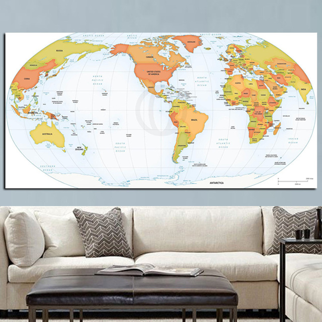 modern globe world map canvas painting poster hd print on canvas art wall picture for office