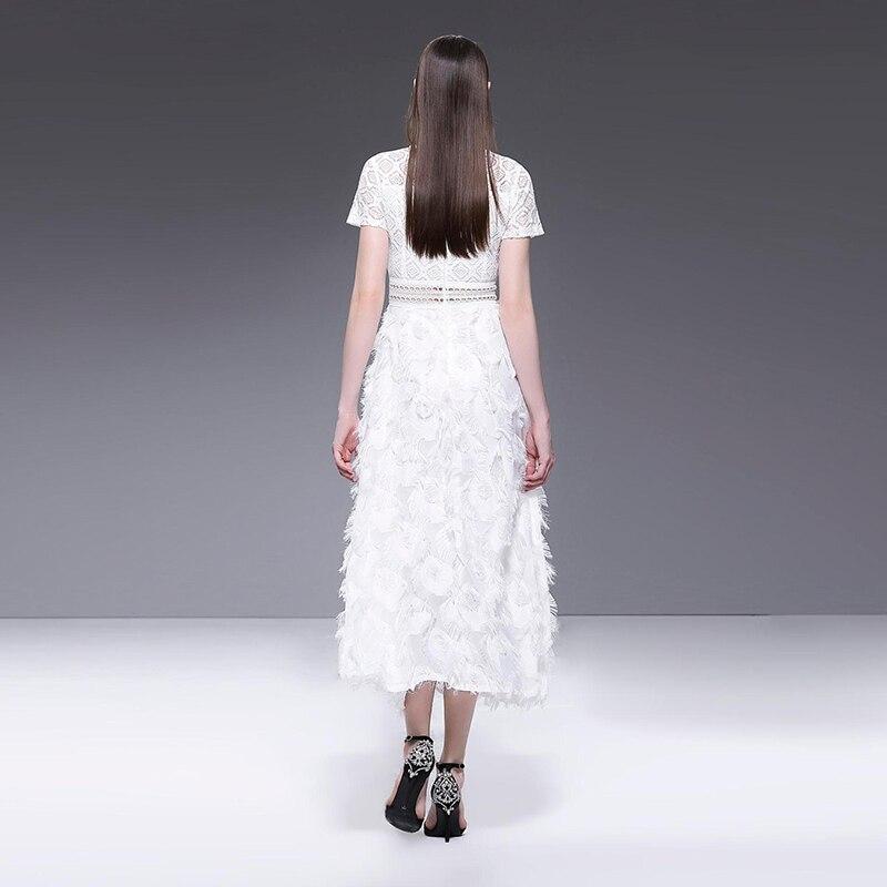 Verano de manga corta cuello gancho hueco de flor de encaje blanco vestido Casual Sexy elegante cena vestido de mujer Maxi vestidos 2019 - 5