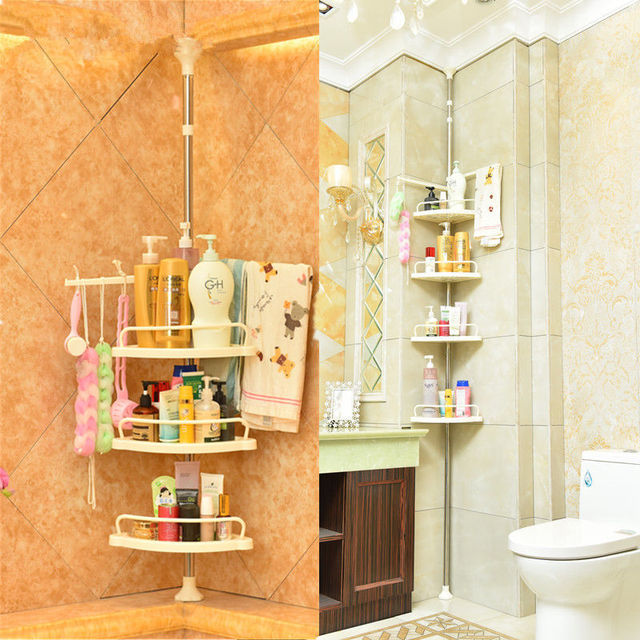 4 Tier Adjustable Telescopic Bathroom Corner Shower Shelf Caddy ...