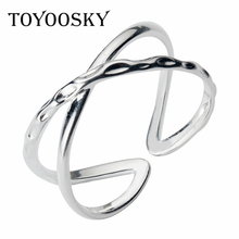 TOYOOSKY Newest 925 Silver Double Layer X Shape Cross Open Ring Contracted Simple Adjustable Finger Rings for Women Girls недорого
