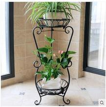 European antique solid wood, wrought iron multilayer flower indoor jardiniere sitting room ground folding money plant bracketp