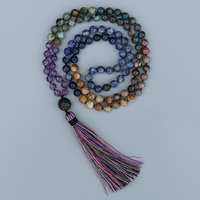 EDOTHALIA 7 Chakra Mala Necklace CZ Ball Pendant Women Yoga Jewelry 8MM Beads Knotted Long Tassles Necklace