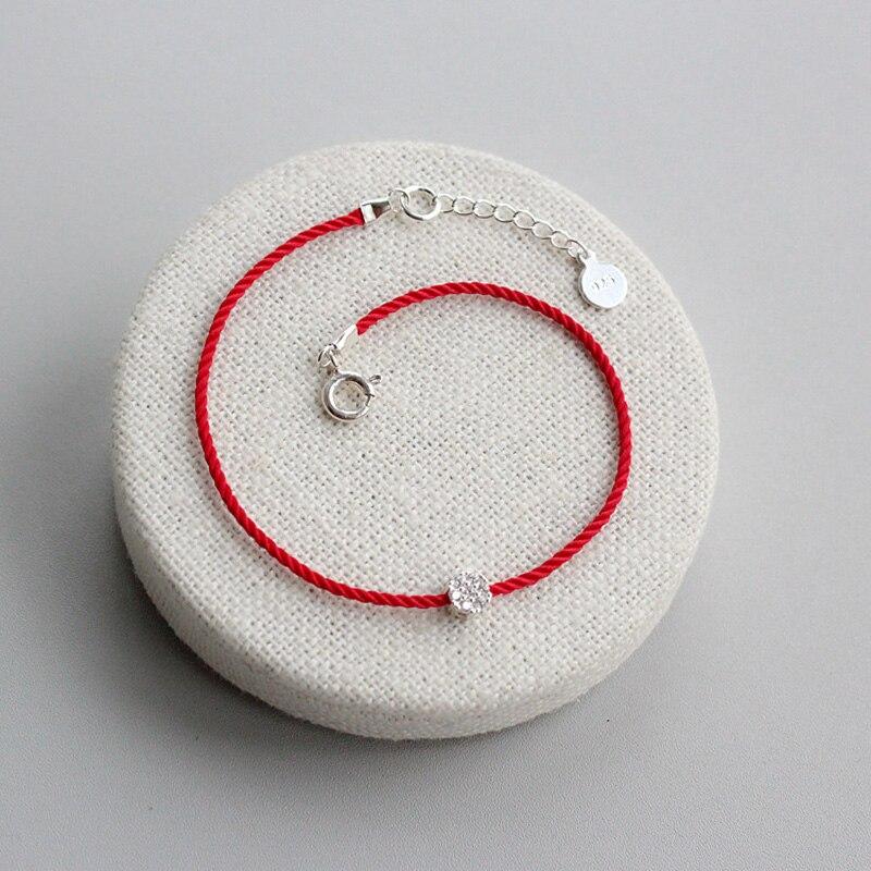 La MaxZa 925 argent Sterling fleur de prune mode Couple Bracelets ligne rouge fil chaîne corde bijoux Bracelets pour femme