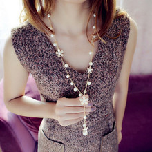 Origianl New Gold Long Chain Flower Necklace For Women Simulated Pearl Tassel Necklaces Pendants Female Jewelry Bijoux Gift