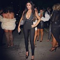 Fashion Women Sexy Deep v Hollow Out Black Bodycon Bandage Jumpsuit HL with Embellishments