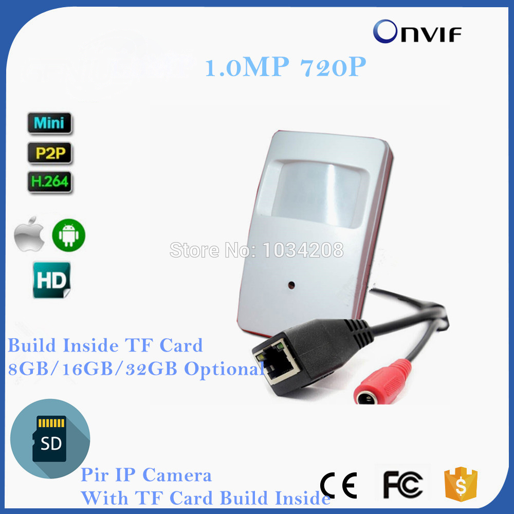 Дешевые H.264 HD 720 P IP Cam детектор движения PIR Стиль CCTV мини IP Камера с SD слот для карты построить внутри 8 ГБ/16 ГБ/32 ГБ