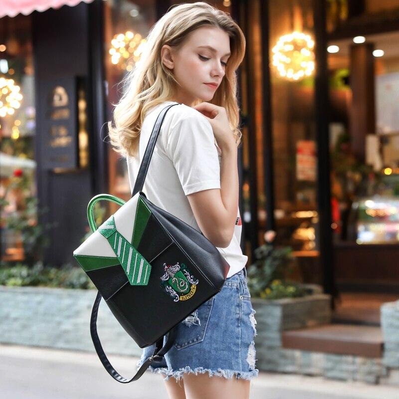 Magic Hogwarts Gryffindor Slytherin Ravenclaw Hufflepuff Tie Backpack Canvas Travel Bag Teenager School Bags