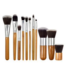 11pcs Natural Bamboo Makeup Brushes Kit with Bag Professional Cosmetic Eyeliner Brush Soft Cosmetic Foundation Blending Tool 11pcs 3sets natural bamboo professional makeup brushes set foundation blending brush tool cosmetic kits makeup set brusher