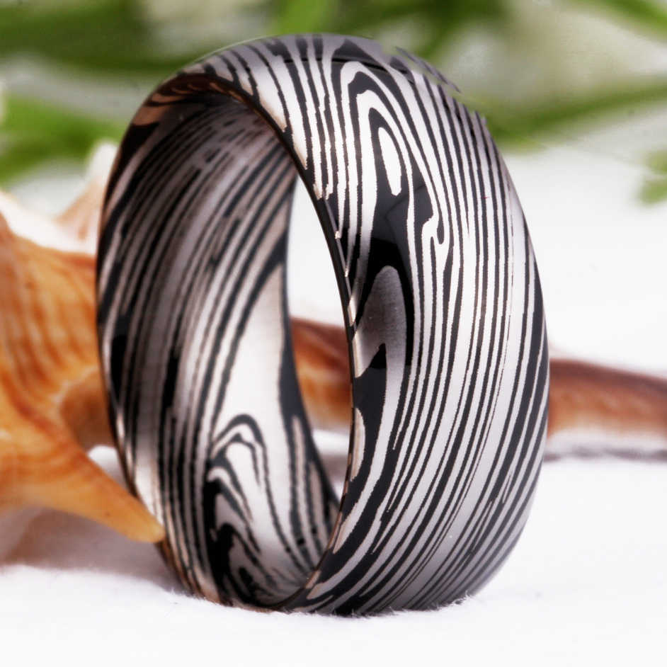 YGK бренд Лидер продаж 8 мм черный купол дамасский узор Выгравированный мужской карбид вольфрама для обручального кольца