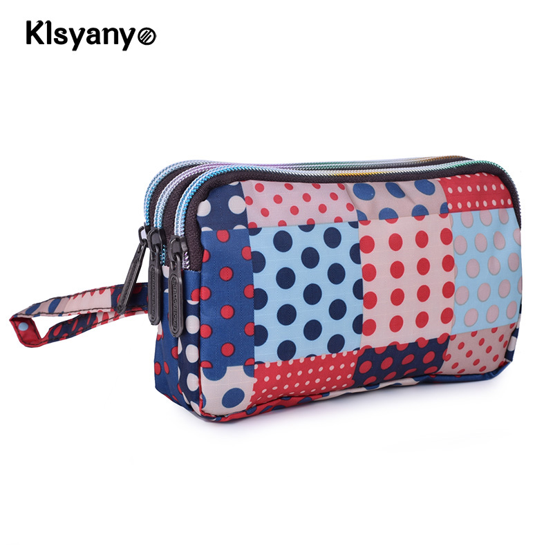 Fashion Women Wallet Canvas 3 - Layer Zipper Large Capacity