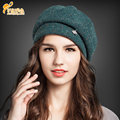 Autumn Winter Women Beret Hats Fashion Warm Wool Beanies French Artist Rhinestone Crown Octagonal cap 100% wool cap  B-0795