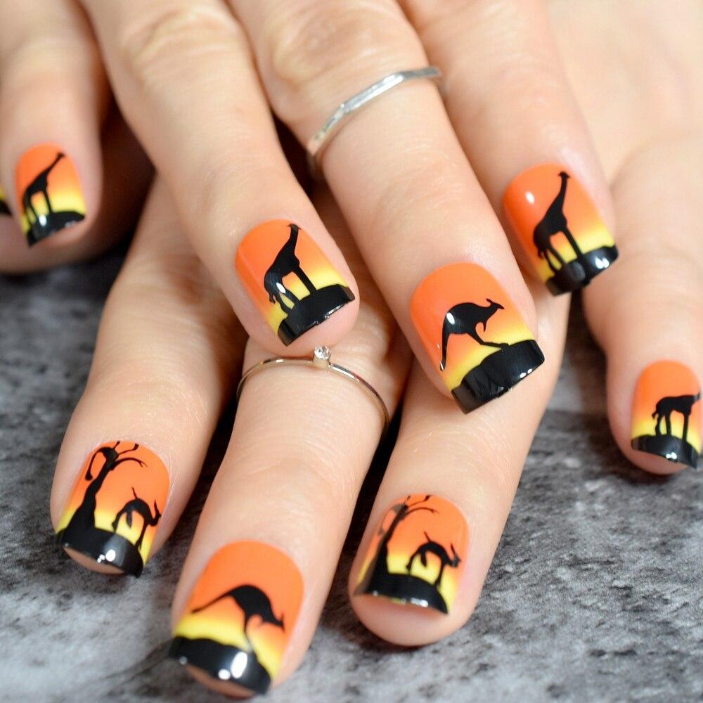 Animal Drawing Black French Nail Orange Zoo Harajuku style Square Top Fake Nail Art Tips Ladies Finger Decoration Accessories